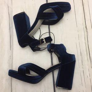 Seven Dials Poliana Blue Retro Block Heels 8